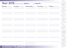 Weekly planner english Stock Photo