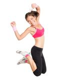 Weight loss fitness woman jumping Royalty Free Stock Image