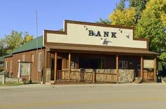 Weinlese, altmodisches Sparkassengebäude in West-Amerika Lizenzfreies Stockfoto