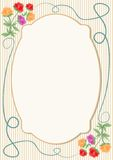 Weinleseschablone für Mitteilung, Einladung, Flieger, Plakat mit weichem zartem Blumenmotiv Stockbild