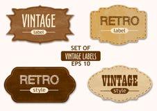 Wektorowy ustawiający roczników emblematy lub etykietki Zdjęcie Stock