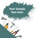 Werbeschild mit verschiedenen Werkzeugen Lizenzfreie Stockbilder