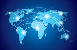 Wereldkaart met mondiaal net Royalty-vrije Stock Fotografie