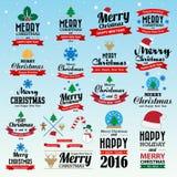 Wesoło bożych narodzeń i Szczęśliwego nowego roku typograficzny tło Fotografia Royalty Free