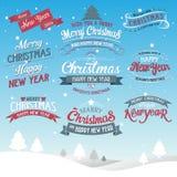 Wesoło bożych narodzeń i Szczęśliwego nowego roku typograficzny tło Zdjęcie Stock