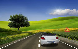 White car, convertible Stock Image