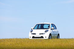 White car on a hill Stock Image