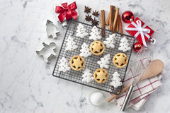 White Christmas Cookies Background Stock Photo