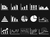 White graph chart icon on black background Stock Photography