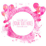 White hand drawn circle frame with colorful watercolor balloons. Pink paint splash background. Artsy design concept for wedding in Stock Images