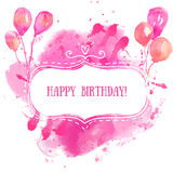 White hand drawn frame with colorful watercolor balloons. Pink paint splash background. Artistic design concept for birthday greet Royalty Free Stock Photos