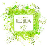 White hand drawn square frame with doodle bird and text hello spring. Green watercolor splash background with leaves. Artistic vec Stock Photo