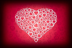 White Heart Design on Red Love Background Stock Photography