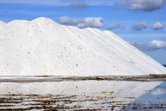 White mountains in salt ponds Royalty Free Stock Photography