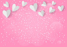 White paper 3d heart on pink background. Vector EPS 10. Stock Image