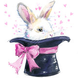 White rabbit illustration with splash watercolor textured background. unusual illustration Royalty Free Stock Photography