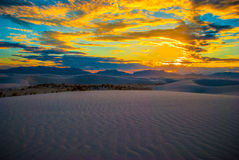 White Sand Dunes National Park New Mexico Sunset of Brilliance Royalty Free Stock Photos