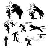 Wild Animal Attacking Human Pictogram Icon Stock Photography