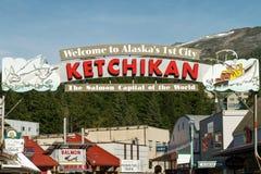 Willkommensschild zu Ketchikan Alaska Lizenzfreies Stockbild