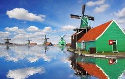 Windmills in Zaanse Schans, Amsterdam, Holland Royalty Free Stock Photography