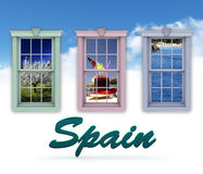 Window scenes and Spain Stock Images