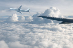 Wing aircraft in altitude Royalty Free Stock Image