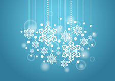 Winter Beautiful Background with Snow Flakes Hanging Pattern Stock Images