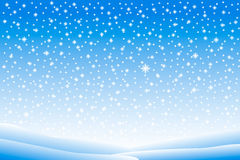 Winter landscape with falling snow Stock Photo