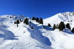 Winter landscape in the ski resort of La Plagne, France Royalty Free Stock Photos