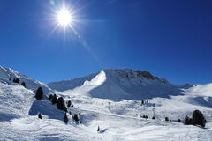 Winter landscape in the ski resort of La Plagne, France Stock Photography