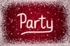 Winter Party Invitation on Red Snow Background Stock Photo