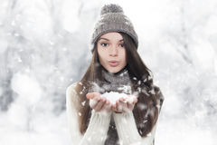 Winter portrait. Young, beautiful woman blowing snow Stock Image