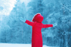 The winter season is open! Abstract silhouette of a woman enjoy Stock Image