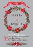 Winter wedding save date card. Christmas wreath Stock Photography