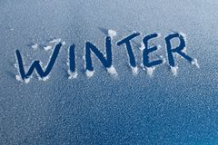 Winter Word in Car Frost Royalty Free Stock Image