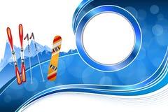 Wintersport-Rahmenillustration abstrakten blauen Snowboard Ski des Hintergrundes rote orange Stockfotos