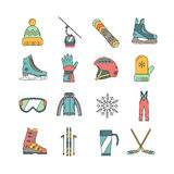 Wintersportikonen eingestellt Stockbild