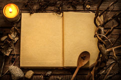 Witchcraft or magic recipes book with alchemy ingredients around Stock Images