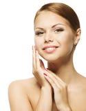 Woman Beauty Face, Clean Fresh Skin Care, Beautiful Girl Portrait Stock Image