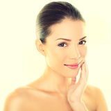 Woman beauty skincare woman touching skin on face Stock Photography