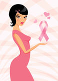 Woman with breast cancer awareness symbol Stock Images