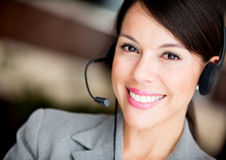 Woman at a call center Stock Photography