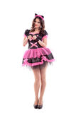 Woman in carnival costume.  kitty ears. Isolated Stock Photography