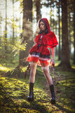 Woman in carnival costume. Sexy Little Red Riding Stock Photo