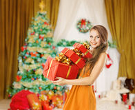 Woman Christmas Presents Gifts Boxes, Holiday Model Girl Royalty Free Stock Photography