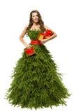 Woman Christmas Tree Dress, Fashion Model Girl Presents on White Royalty Free Stock Photos