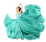 Woman Dancing In Fashion Dress, Fabric Cloth Waving On Wind Stock Images