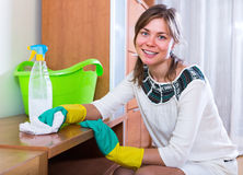 Woman doing regular housework and polishing Stock Images