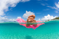 Woman float raft tropical water Stock Photo