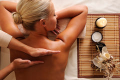 Woman getting  recreation massage Royalty Free Stock Photos